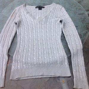 Ralph Lauren silver metallic v-neck sweater